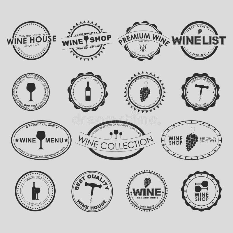 Set rocznika wina logo obraz stock