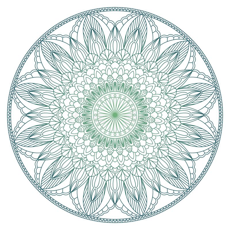 Set rocznika zaproszenia Ślubna karta z mandala wzorem w kolorze i Medytacja element dla India joga Ornament royalty ilustracja