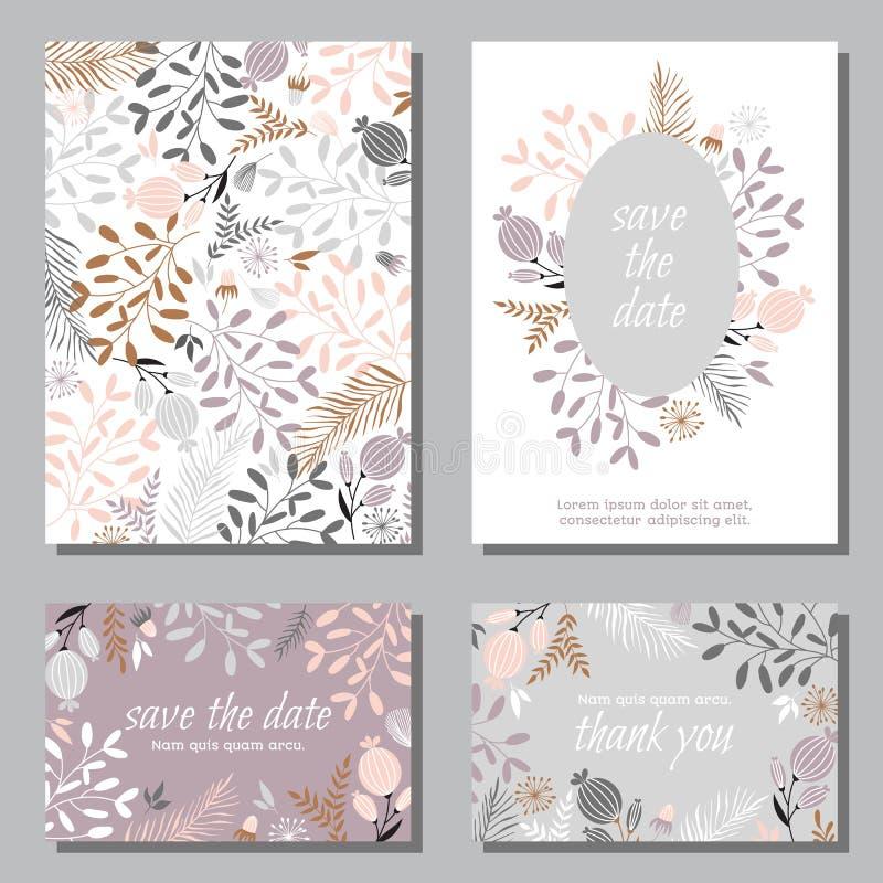 Set rocznika zaproszenia ślubne karty ilustracja wektor