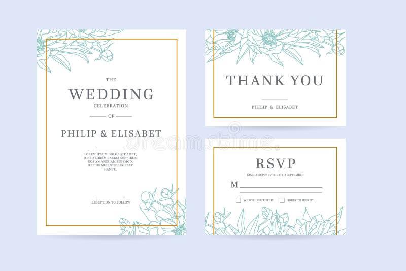 Set rocznika zaproszenia Ślubny szablon z peoniami ilustracji
