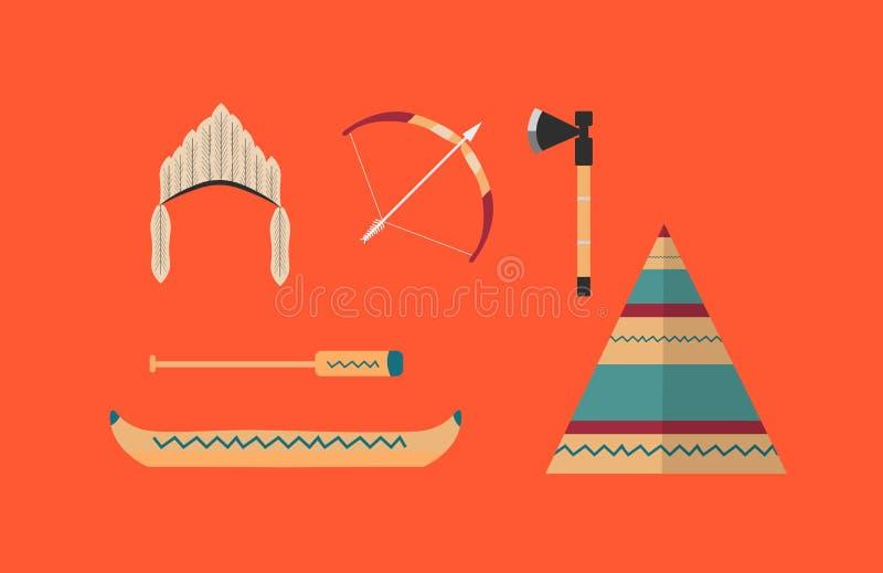 Set rodowitych amerykan plemienni inspirowani projekty ikony i ilustracji
