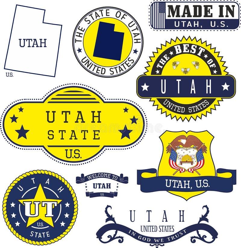 Set rodzajowi znaczki i znaki Utah stan ilustracja wektor
