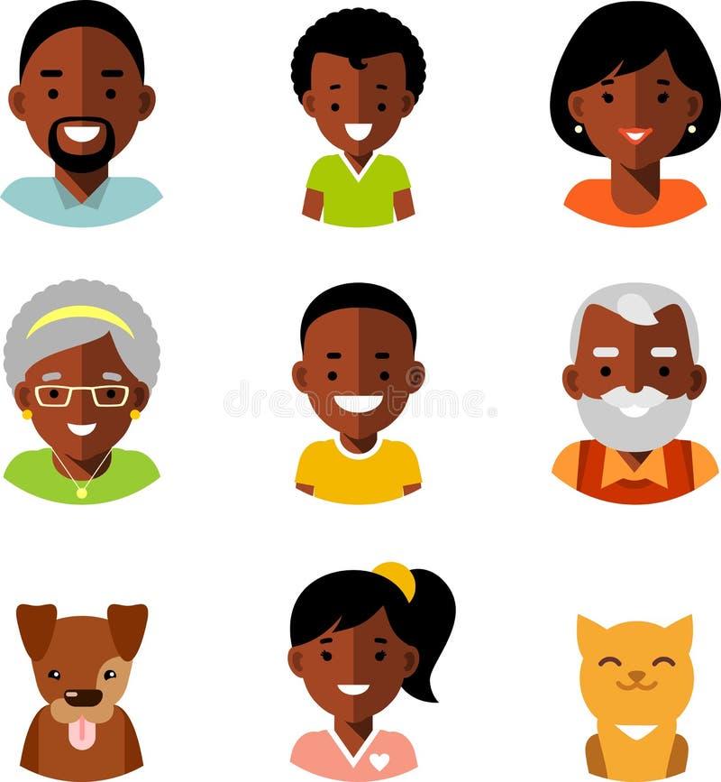 Set rodzinnego amerykanina afrykańskiego pochodzenia członków avatars etniczne ikony w mieszkaniu projektuje ilustracji
