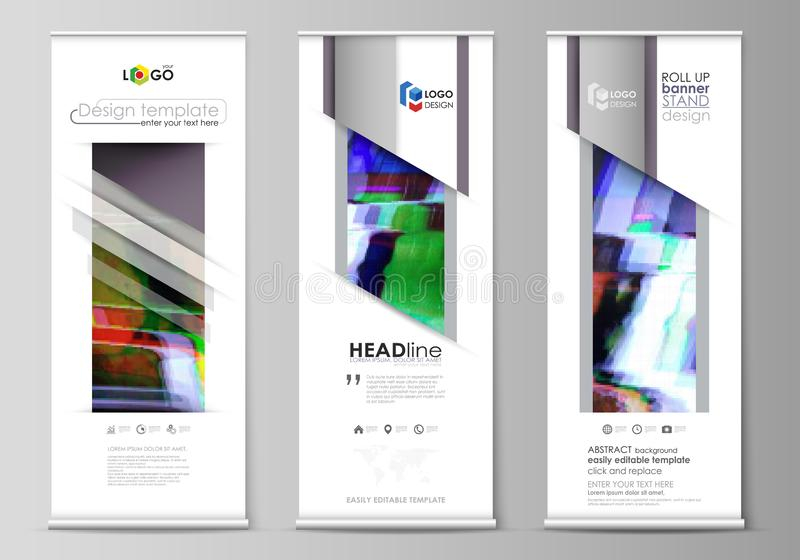 Roll up banner stands, flat design templates, abstract style, vertical vector flyers, flag layouts. Glitched background vector illustration