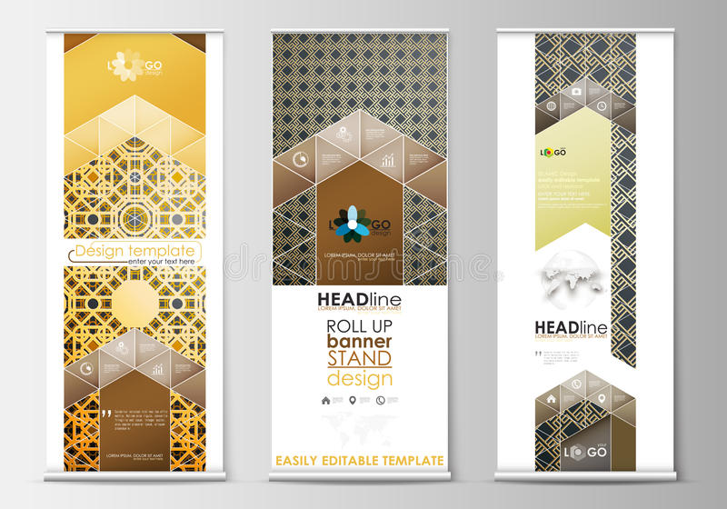 Set of roll up banner stands, flat design templates, modern business concept, corporate vertical flyers. Islamic gold royalty free illustration