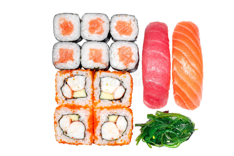Set of rolls, roll California, roll salmon, sushi salmon, sushi tuna. Seaweed on a white background stock photos