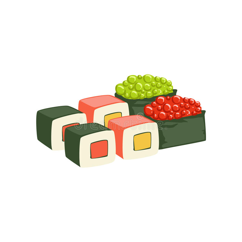 Set Of Rolls And Sushi Japanese Cafe Menu Item With Raw Fish And Seafood. Cartoon Vector Illustration From The Collection Of Asian Food Takeout Company Process royalty free illustration