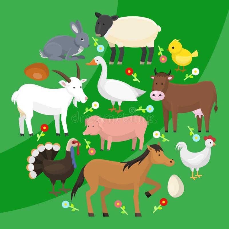 Set rolna zwierze domowy round wzoru wektoru ilustracja Kolekcja śliczny zwierzęcia domowego zwierzę Kreskówka koń i krowa royalty ilustracja