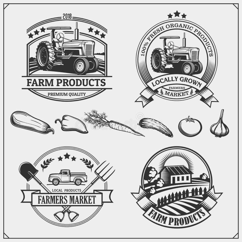 Set rolnicy wprowadzać na rynek emblematy, logów i etykietki, również zwrócić corel ilustracji wektora ilustracja wektor