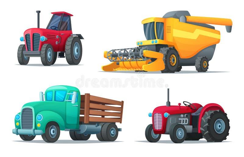 Set rolniczy transport Rolny wyposażenie, ciągniki, ciężarówka i żniwiarz, pojazdy przemysłowe Kreskówka projekta wektor zdjęcie royalty free