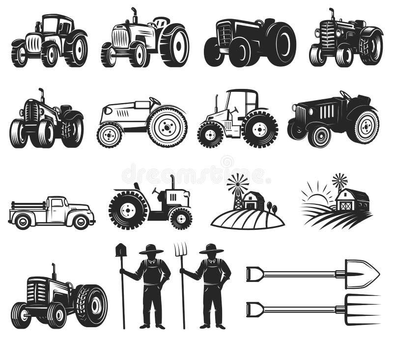 Set rolnika rynku projekta elementy Ciągnikowe ikony Projektuje elementy dla loga, etykietka, emblemat, znak, odznaka ilustracji