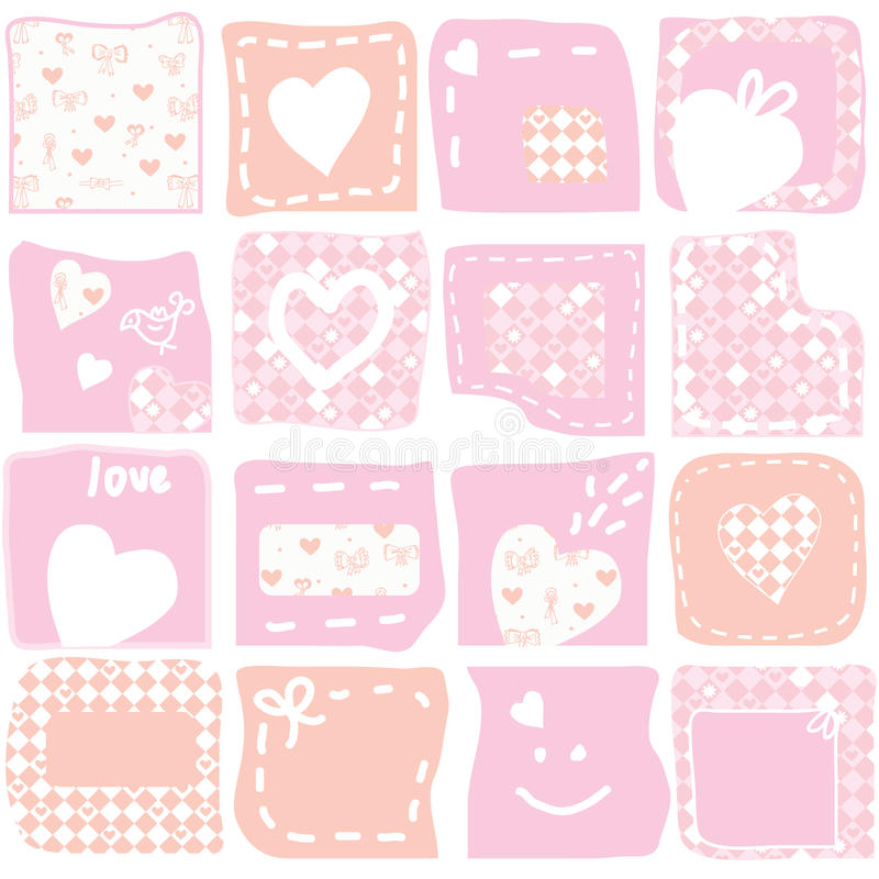 Download Set of romantic banners stock vector. Image of pink, elegance - 23005874
