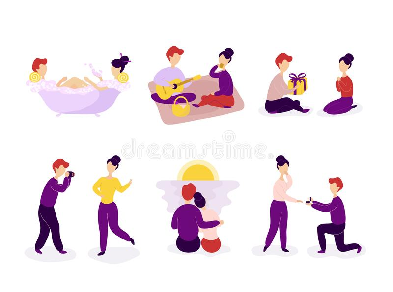 Set of couple in love spending time together royalty free illustration