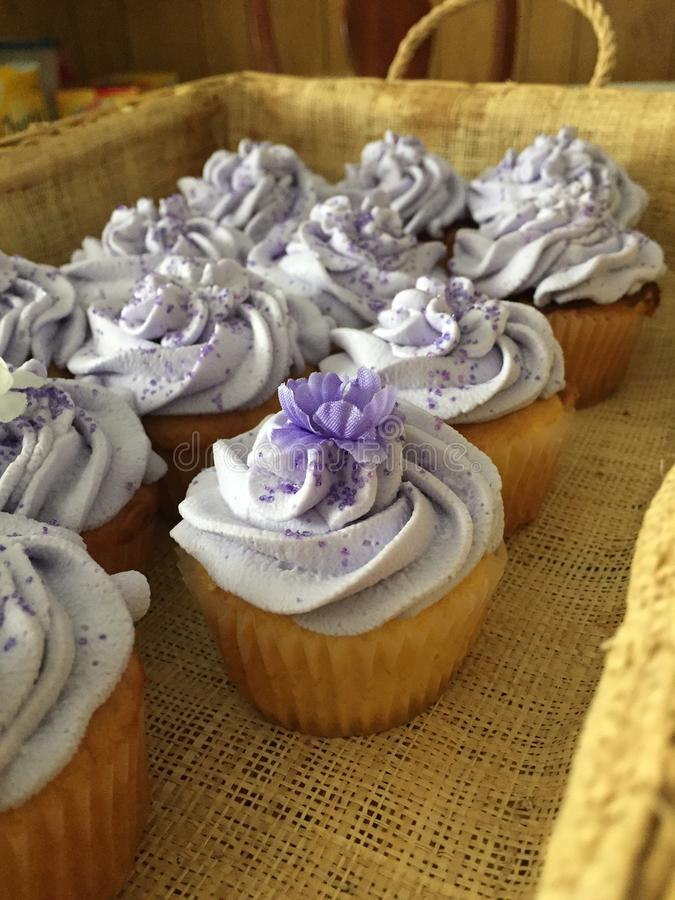 Romantic cup cakes for a wedding royalty free stock image