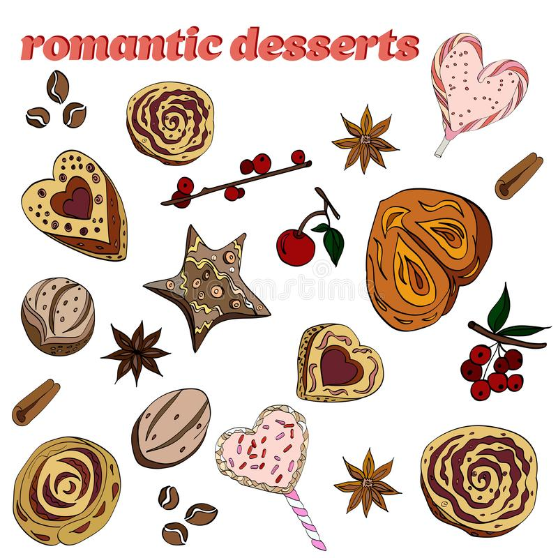 Set of romantic desserts: cookies, buns, candies, flowers of star anise. Isolated on white background royalty free illustration