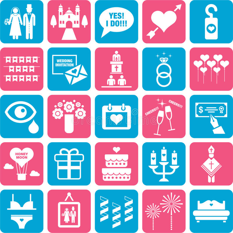 Download Set of romantic icons stock vector. Image of groom, lingerie - 34689163