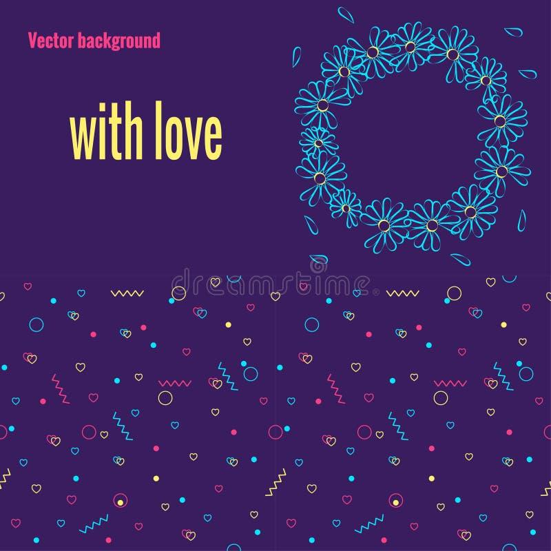 Set romantyczni tła z Memphis wzorem z i round wianek z kwiatami geometrycznymi elementami i serce kształtami ilustracja wektor