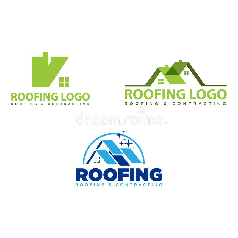 Roofing and contracting vector logo design. Set of Roofing and contracting vector logo design. Logo with various house and roof style royalty free illustration