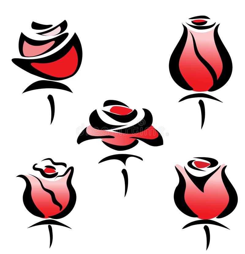 Set of rose symbols vector illustration