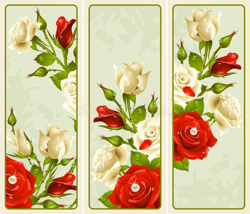 Set Of Rose Vertical Banners Royalty Free Stock Photo