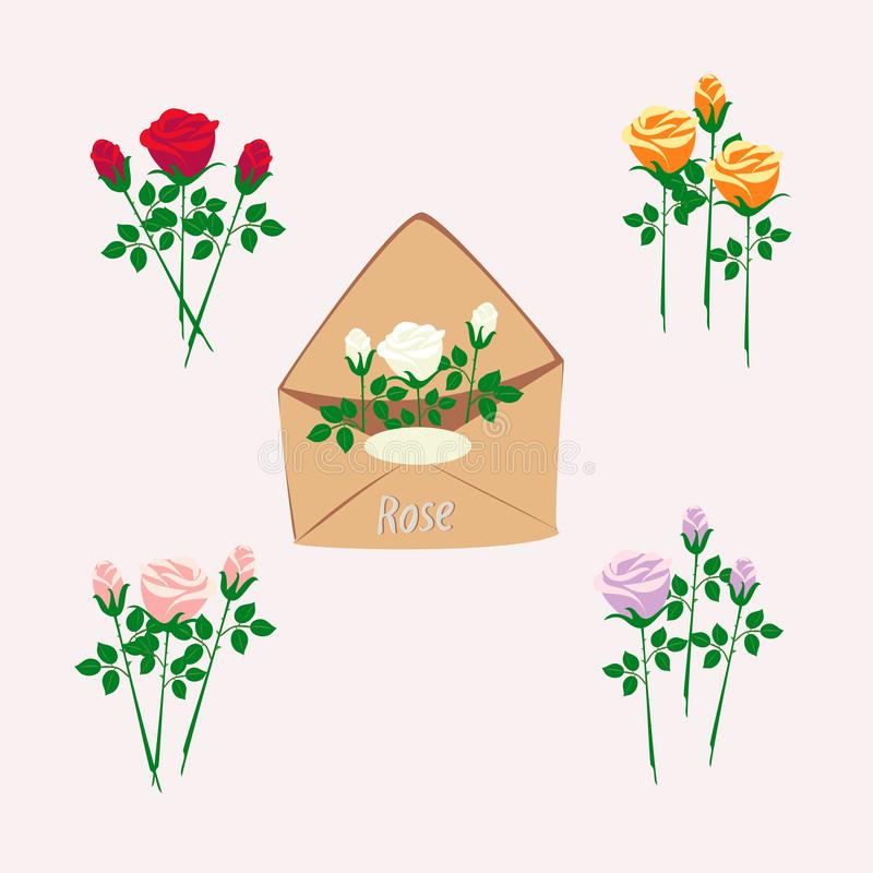 Set of roses and a brown envelope stock illustration