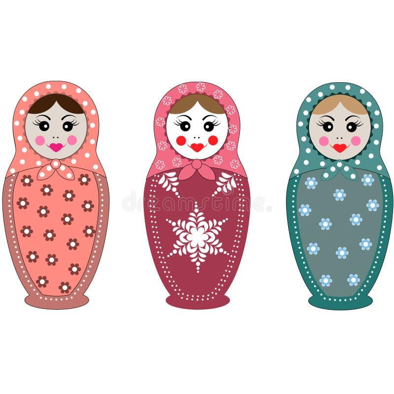 Set Rosyjskie matryoshka lale Tradycyjny symbol Rosja Ikon dzieci Rosyjski krajowy ` s bawi się babushka lale royalty ilustracja