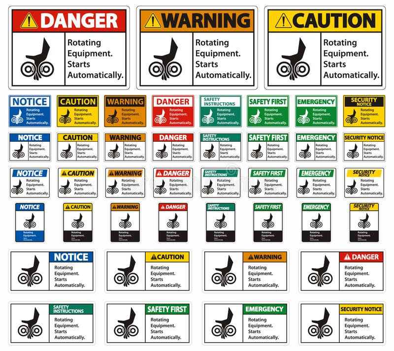 Set Rotating Equipment.Starts Automatically Symbol Sign Isolate on White Background,Vector Illustration. Technology, caution, movement, safety, danger stock illustration