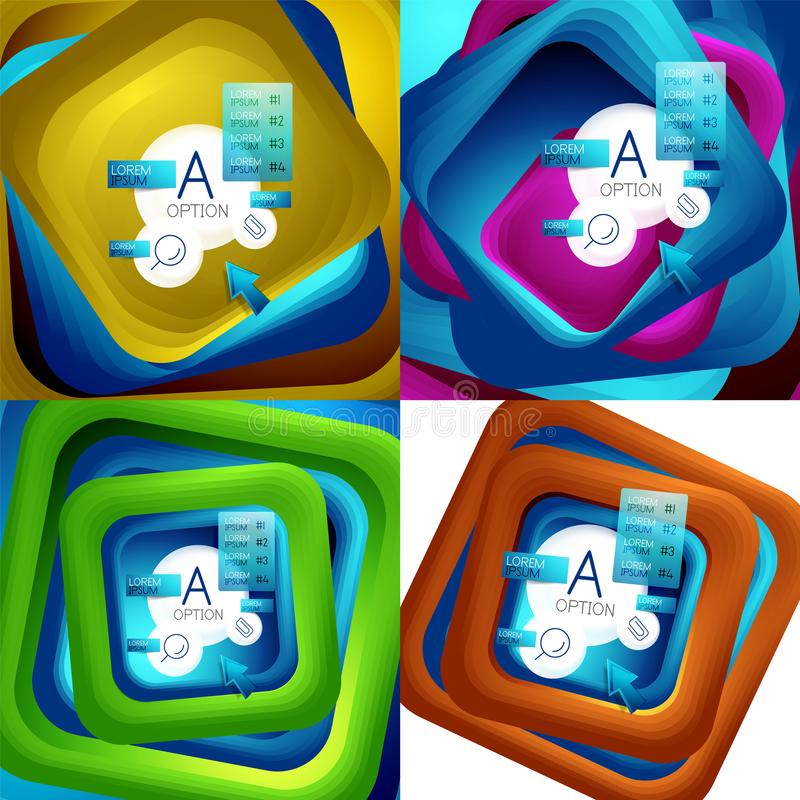 Set of rotating swirl square backgrounds, color rectangles with stepping blending effect with sample infographics or stock illustration
