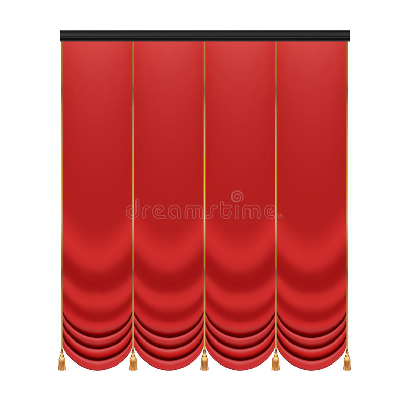 Set rote Trennvorhänge zur Theaterstufe Mesh Vector Illustration lizenzfreie abbildung