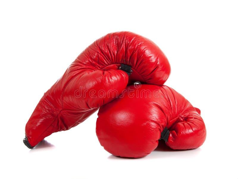 Set rote Verpacken-Handschuhe lizenzfreie stockfotografie