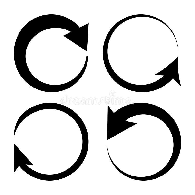 Set of round arrows, black circles. Vector. Illustration royalty free illustration