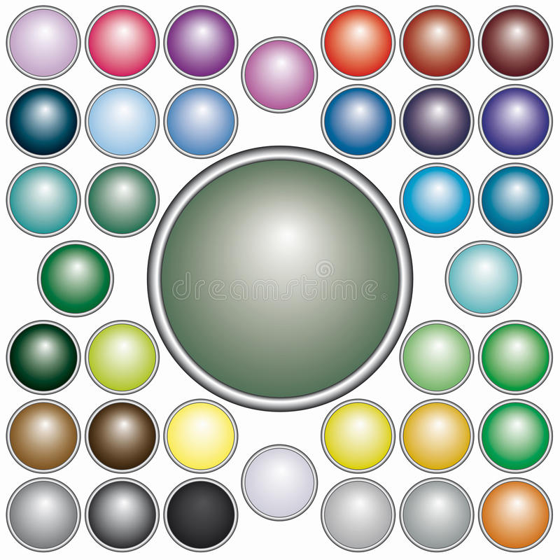 Set Of Round  Buttons Stock Photos