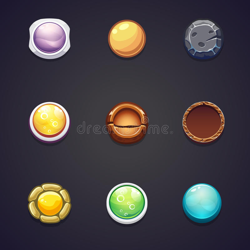 Set of round buttons different materials for the web design. A set of round buttons of different materials for the web design and computer games royalty free illustration