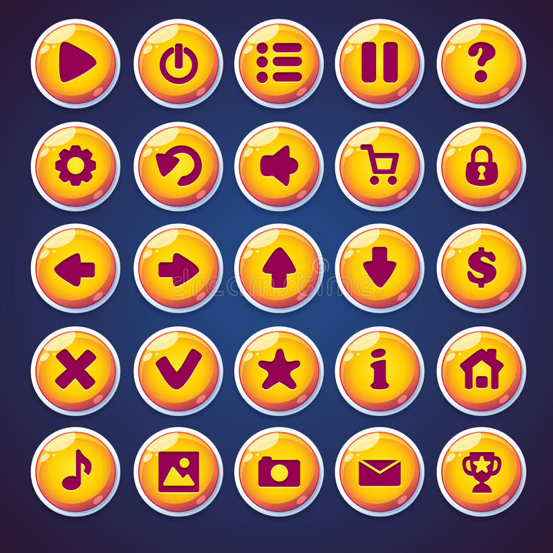 Set round buttons for web video game.  vector illustration