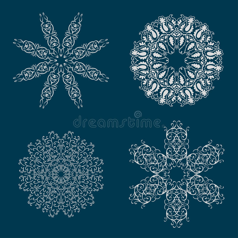 Set of round calligraphic patterns or snowflakes vector illustration