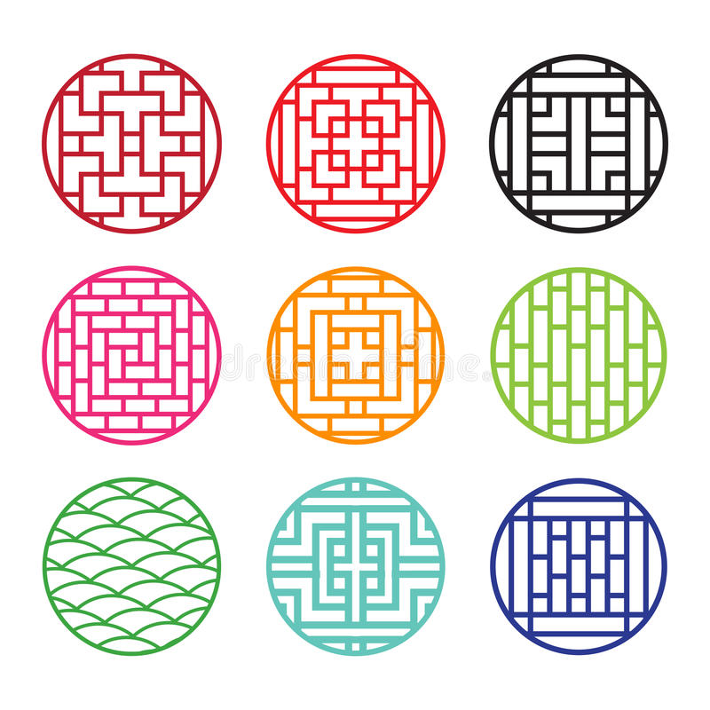 Set Of Round Chinese Pattern Window Frame Stock Vector ...