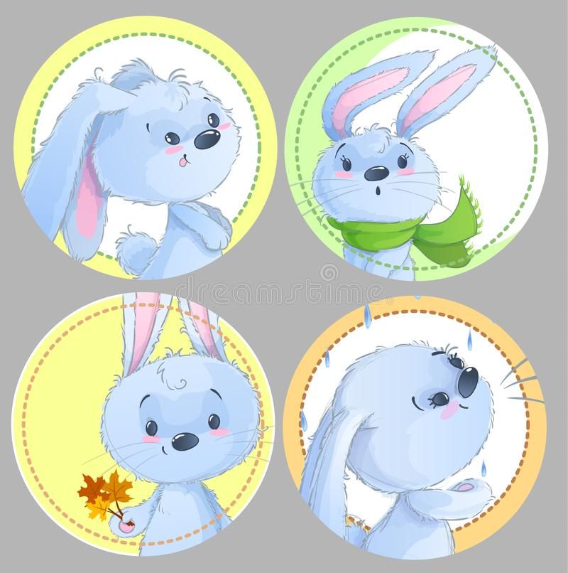 Download set of round clipart with cute baby rabbits baby animals autumn theme