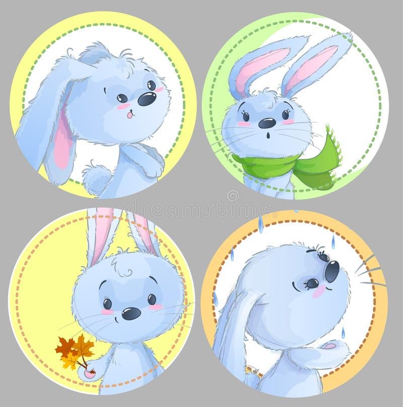 Set round clipart z ślicznymi dziecko królikami, dzieci zwierzęta, jesień temat, liście, szalik dla dziecko odzieży, majchery, gr ilustracji