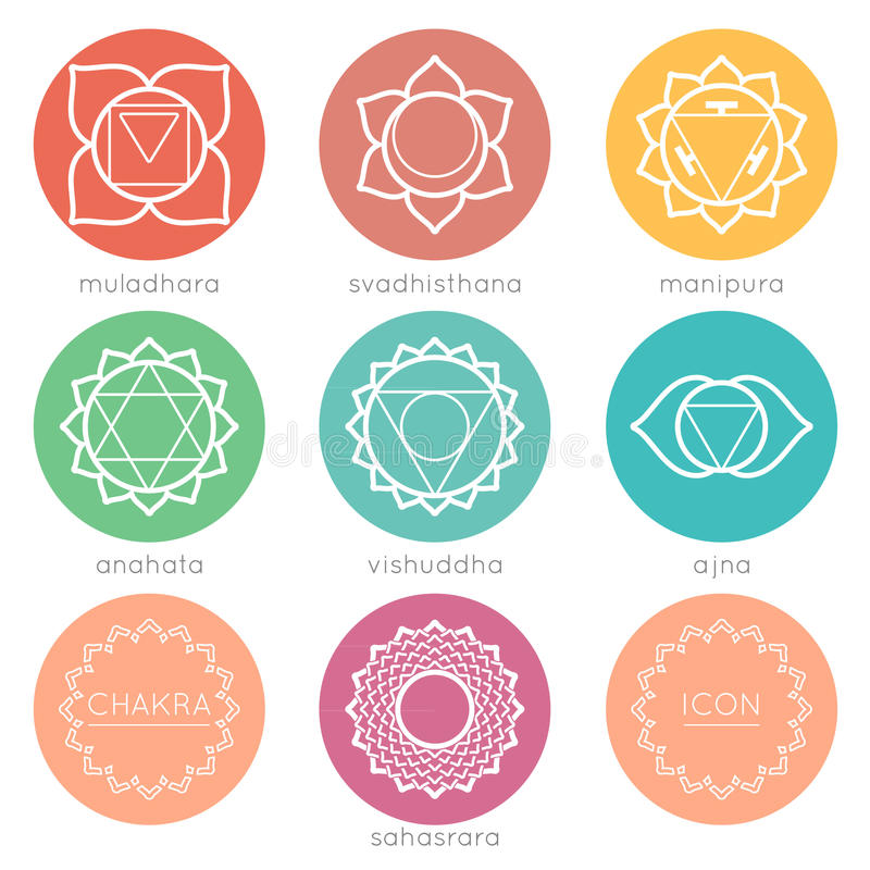Set of round colorful chakras icons royalty free illustration