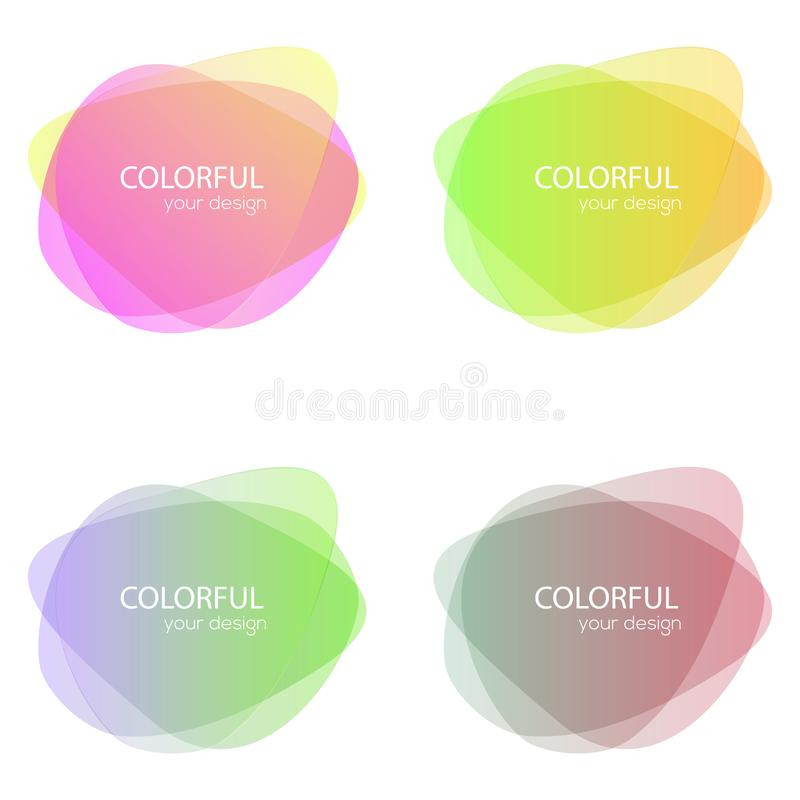 Set of round colorful vector shapes. Abstract vector banners. Design elements. Fun label or tag design stock illustration