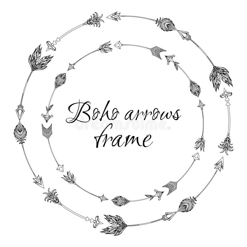 Set of round frames with a boho arrows with different tips and plumage. royalty free illustration