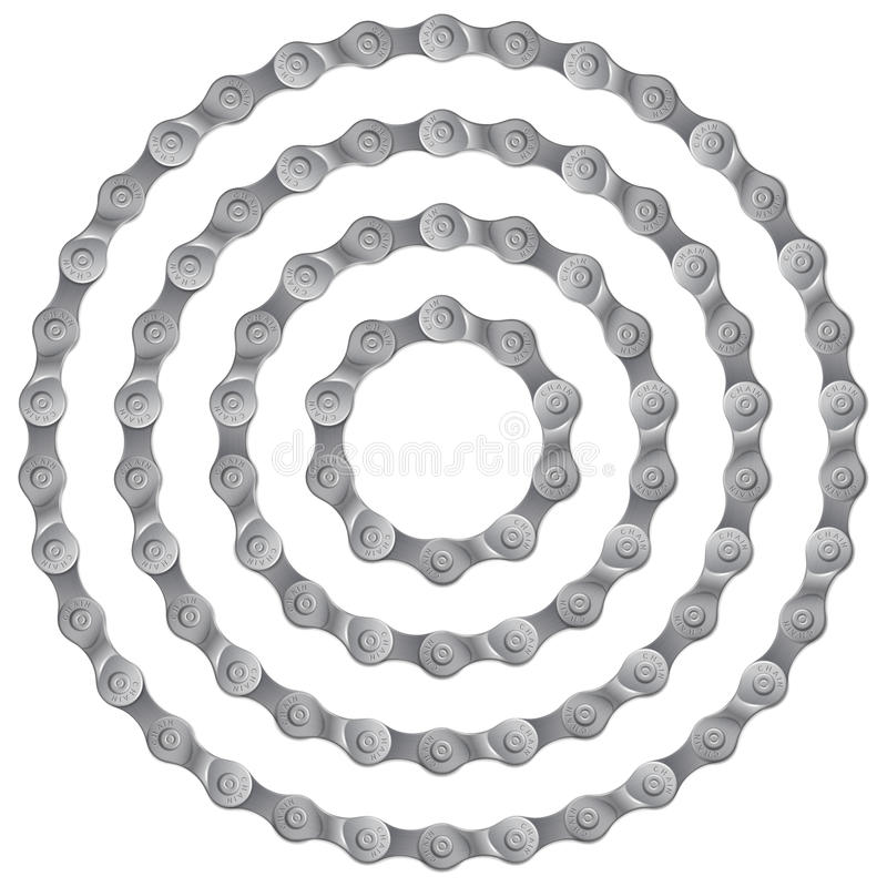 Set of round frames made of metal bicycle chain, isolated on white, royalty free illustration
