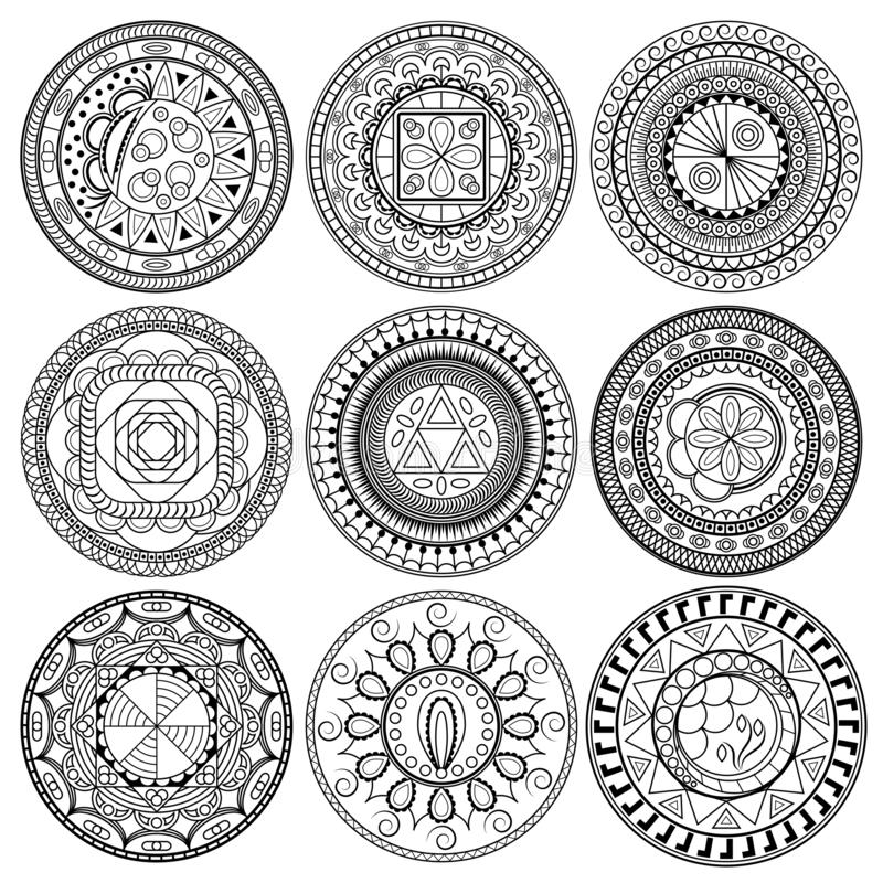 set round geometric ornaments set round geometric ornaments hand drawn doodle mandalas can be used as coloring page