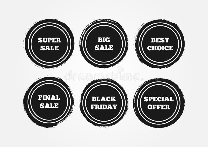 Set round grunge majchery Definitywna Duża Super sprzedaż, Black Friday, Specjalna oferta, Najlepszy wybór ilustracja wektor