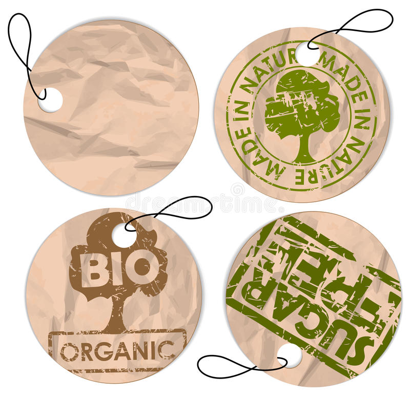 Set of round grunge tags for organic food