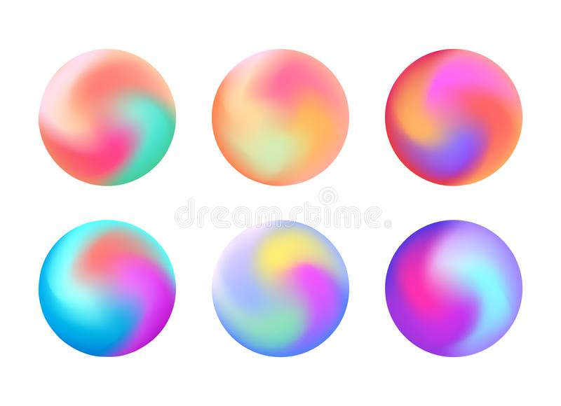 Set of round holographic banners. Blurred rainbow elements. Vector circles for your design stock illustration