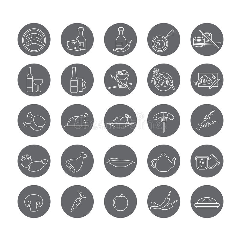Set of round icons with food and drinks. vector illustration