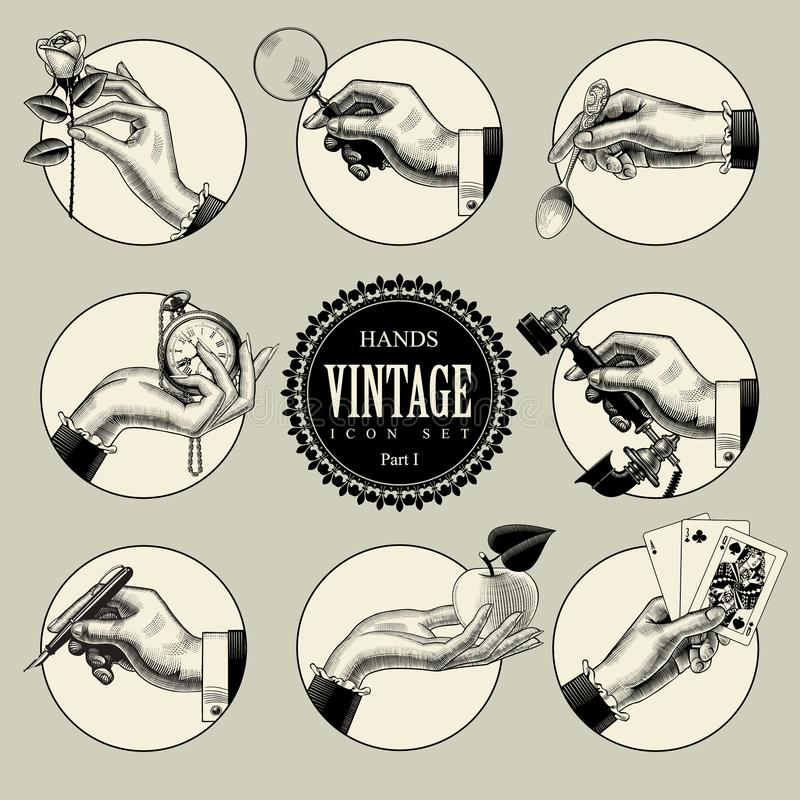 Set of round icons in vintage engraving style with hands and accessories. Retro business icons. Vector illustration royalty free illustration