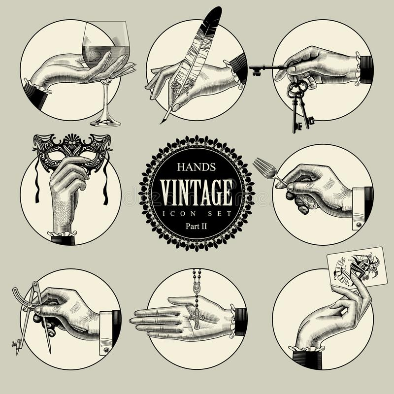 Set of round icons in vintage engraving style with hands and accessories royalty free illustration