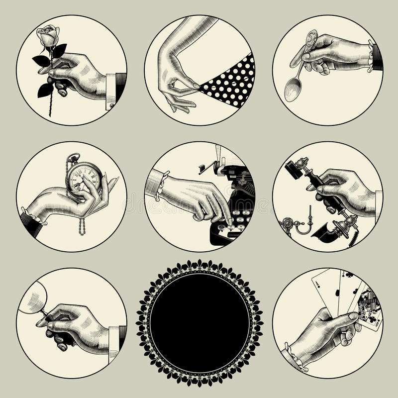 Set of round images in vintage engraving style with body parts a vector illustration
